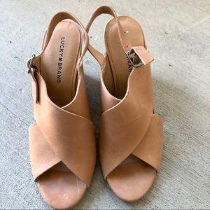 Lucky Brand brown sandal heels Sz 9.5